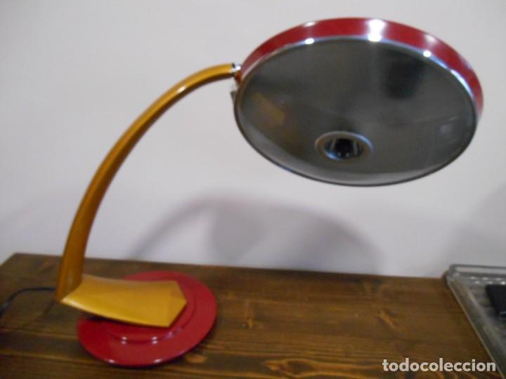 Vintage: PRECIOSA LAMPARA ANTIGUA FASE BOOMERANG 2000 EN OCRE Y BURDEOS CON DIFUSOR COMPLETA VINTAGE DISEÑO - Foto 4 - 128461079