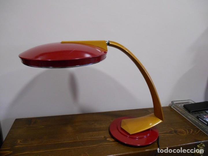 Vintage: PRECIOSA LAMPARA ANTIGUA FASE BOOMERANG 2000 EN OCRE Y BURDEOS CON DIFUSOR COMPLETA VINTAGE DISEÑO - Foto 8 - 128461079