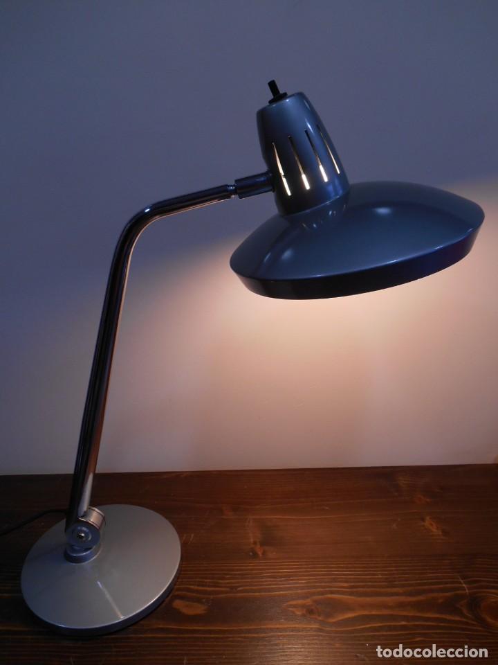LAMPARA MARCA FASE - MODELO FARO - COLOR GRIS/CROMO - AÑOS 70 - VINTAGE RETO -ORIGINAL - (Vintage - Lámparas, Apliques, Candelabros y Faroles)