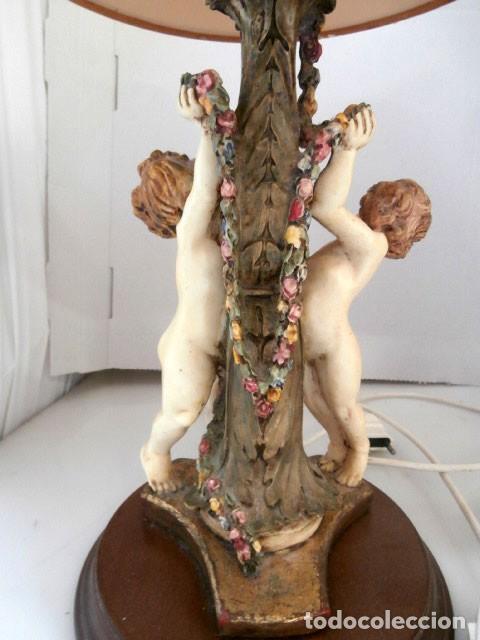 Vintage: LAMPARA DE SOBREMESA CON CUERPO DE RESINA EN FORMA DE ANGEL, BASE DE MADERA MAS TULIPA - Foto 6 - 128698319
