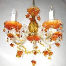 Vintage: PRECIOSA LAMPARA MARIA TERESA EN CRISTAL BOHEMIA MIEL VINTAGE . Lote 129380267