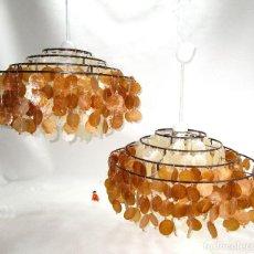 Vintage: 2 SUPER LAMPARAS VINATGE 60CM NACAR BLANCO Y MIEL TIPO VERNER PANTON. Lote 130231574
