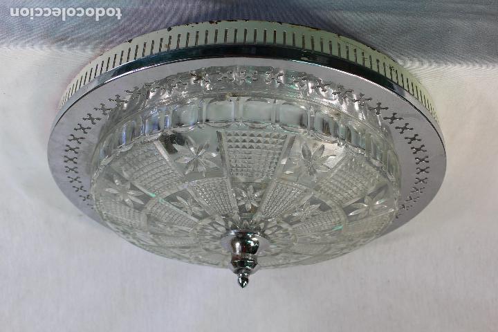 LAMPARA PLAFON DE TECHO EN METAL Y TULIPA DE CRISTAL TALLADO (Vintage - Lámparas, Apliques, Candelabros y Faroles)