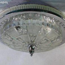 Vintage: LAMPARA PLAFON DE TECHO EN METAL Y TULIPA DE CRISTAL TALLADO. Lote 130264574