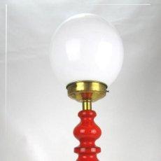 Vintage: SUPER LAMPARA CERAMICA MARMOL Y OPALINA MANISES AÑOS 70 ROJO BERMELLON DE ENRIQUE CASES OPALINA. Lote 130938872