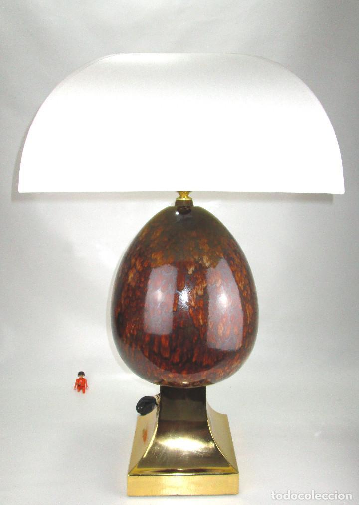 LUJOSA GRAN LAMPARA CERAMICA MANISES PIÑA EFECTO CAREY BASE METAL DORADA (Vintage - Lámparas, Apliques, Candelabros y Faroles)