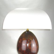 Vintage: LUJOSA GRAN LAMPARA CERAMICA MANISES PIÑA EFECTO CAREY BASE METAL DORADA . Lote 131026620