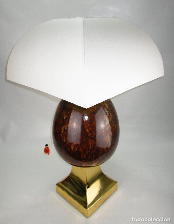 Vintage: LUJOSA GRAN LAMPARA CERAMICA MANISES PIÑA EFECTO CAREY BASE METAL DORADA - Foto 4 - 131026620