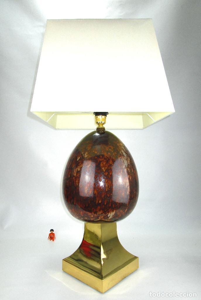 Vintage: LUJOSA GRAN LAMPARA CERAMICA MANISES PIÑA EFECTO CAREY BASE METAL DORADA - Foto 5 - 131026620