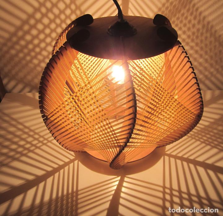 techo Sold estilo rafia dis madera lámpara Excelente Nw8v0mn
