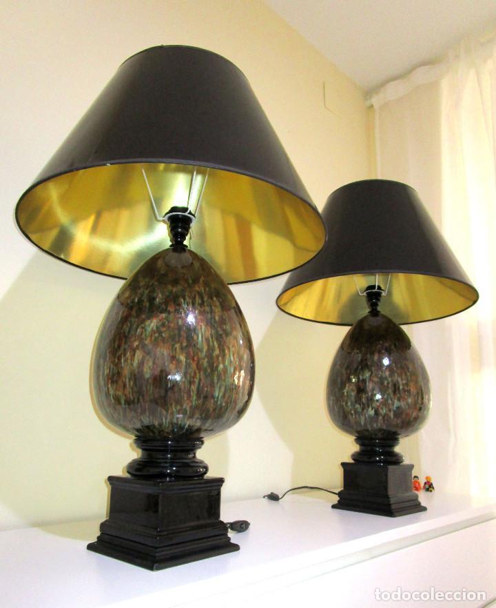 SUPER LUJOSA PAREJA XXL DE LAMPARAS GLOBO MANISES CERAMICA MARMOLEADA NEGRO ORO ES (Vintage - Lámparas, Apliques, Candelabros y Faroles)