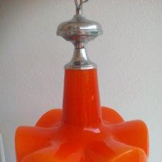 Vintage: LAMPARA DE TECHO, VINTAGE, DE CRISTAL, OPALINA COLOR NARANJA.. Lote 132635050