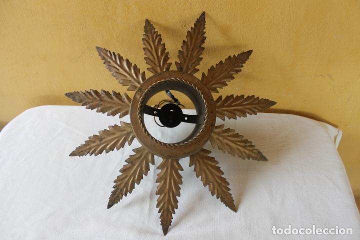 LAMPARA DE FORJA, SOL CON 11 HOJAS, (Vintage - Lámparas, Apliques, Candelabros y Faroles)