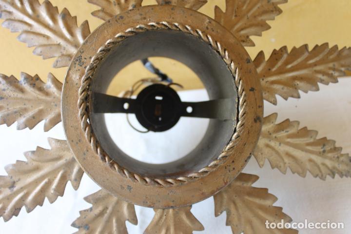 Vintage: LAMPARA DE FORJA, SOL CON 11 HOJAS, - Foto 2 - 132938190