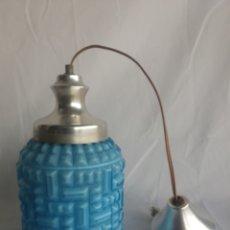 Vintage: ANTIGUA LAMPARA DE TECHO.MODERNISTA.TULIPA OPALINA AZUL TURQUESA.VINTAGE AÑOS 50. Lote 98797384