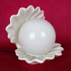 Vintage: LAMPARA CONCHA TIPO OSTRA CERAMICA MANISES BLANCA RESTAURADA. Lote 149946010