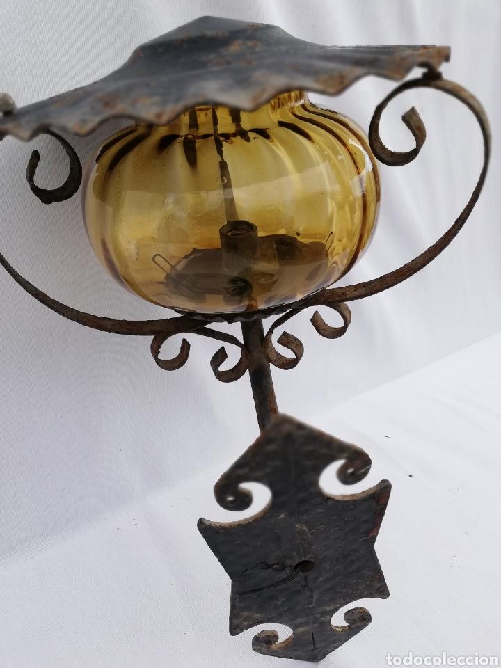 Vintage: LAMPARA FAROL APLIQUE DE PARED DE HIERRO FORJADO. - Foto 5 - 134421607