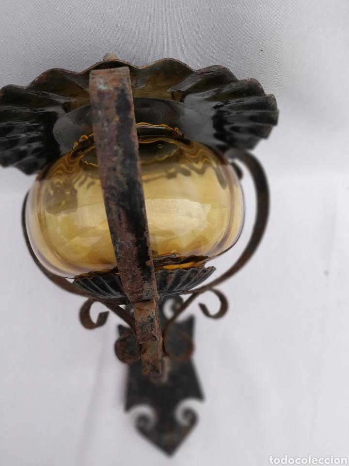 Vintage: LAMPARA FAROL APLIQUE DE PARED DE HIERRO FORJADO. - Foto 7 - 134421607
