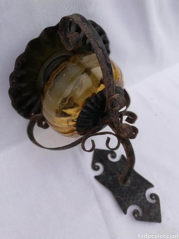 Vintage: LAMPARA FAROL APLIQUE DE PARED DE HIERRO FORJADO. - Foto 8 - 134421607