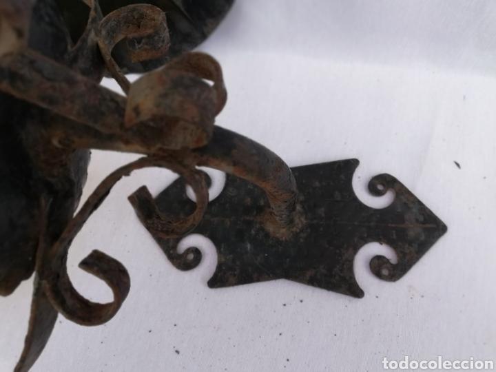 Vintage: LAMPARA FAROL APLIQUE DE PARED DE HIERRO FORJADO. - Foto 11 - 134421607