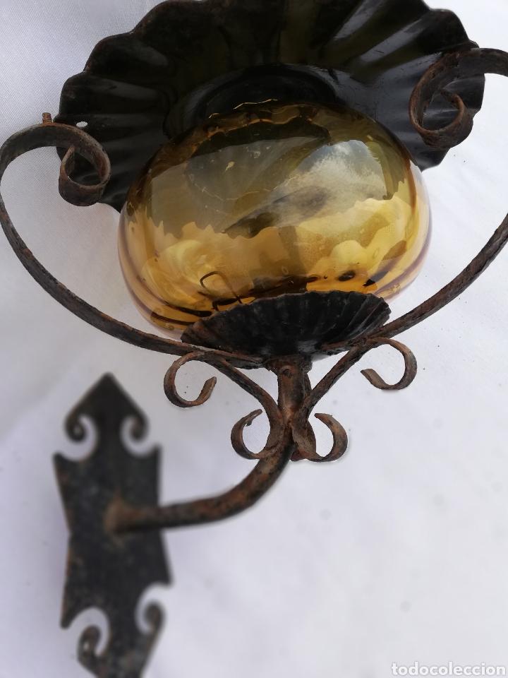 Vintage: LAMPARA FAROL APLIQUE DE PARED DE HIERRO FORJADO. - Foto 13 - 134421607