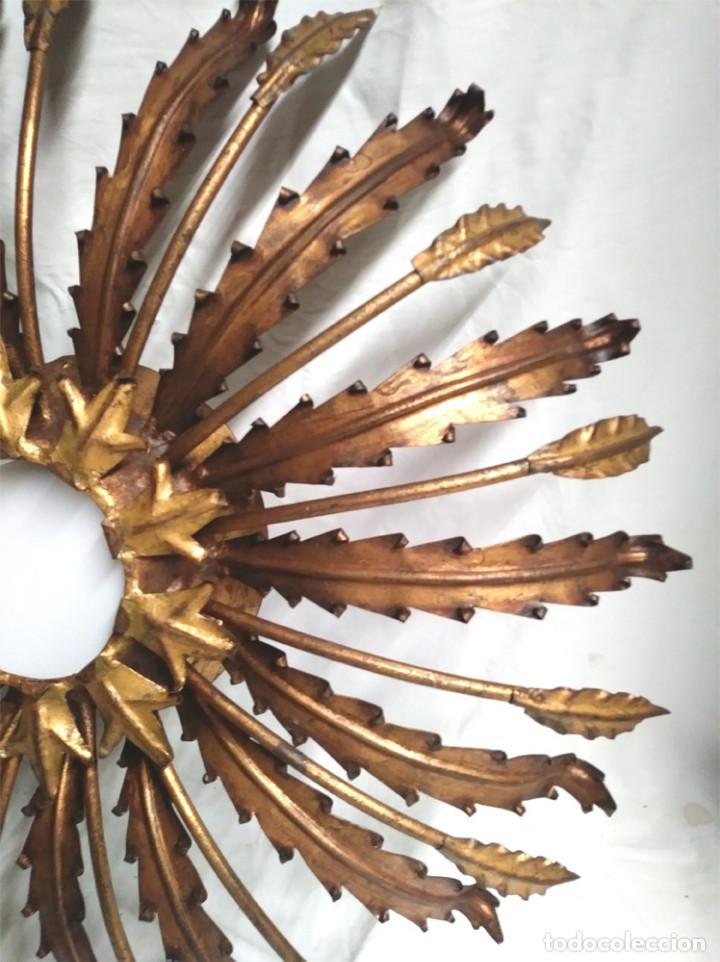 Vintage: Sol con Espigas Forja años 60 patina dorada, lampara Techo o pared, buen estado. Med. 60 cm - Foto 2 - 134776186