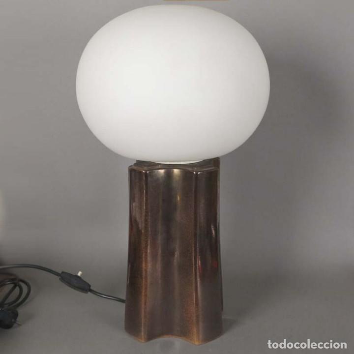LAMPARA VINTAGE DE MESA DE CERAMICA Y CRISTAL. 1960 - 1970 (BRD) (Vintage - Lámparas, Apliques, Candelabros y Faroles)
