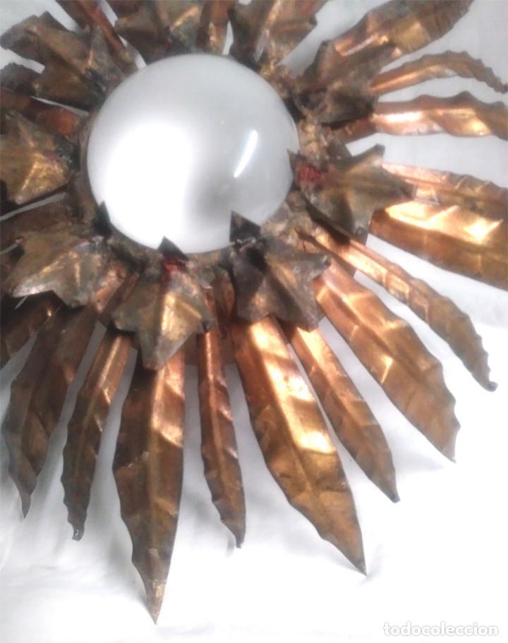 Vintage: Sol con Espigas patina dorada años 60, lampara Techo o pared Forja. Med. 40 cm - Foto 2 - 135531986