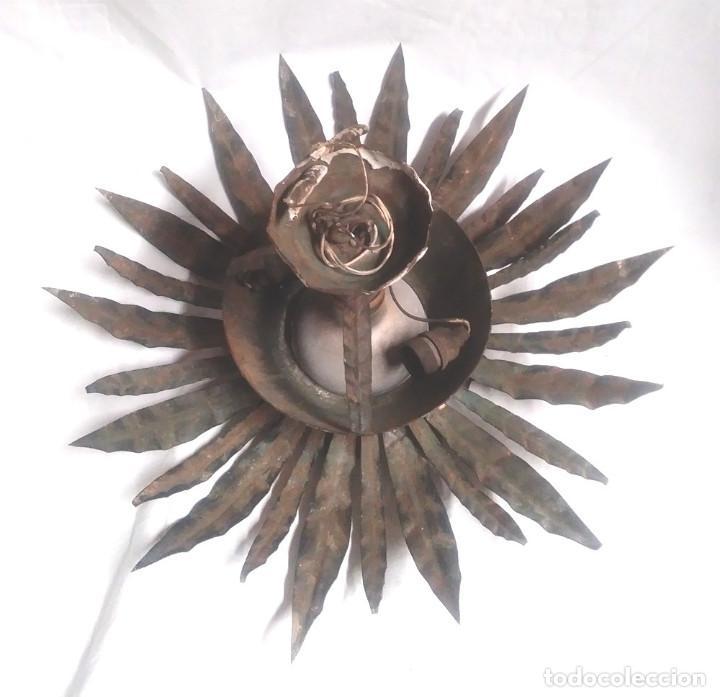 Vintage: Sol con Espigas patina dorada años 60, lampara Techo o pared Forja. Med. 40 cm - Foto 3 - 135531986