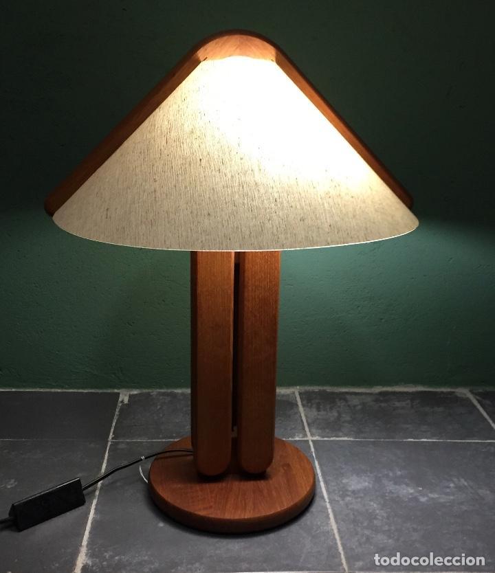 Vintage: Lampara sobremesa danesa en madera de teca - Foto 3 - 135814990