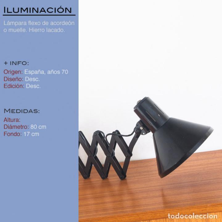 Vintage: Lámpara flexo de acordeón. Hierro lacado. España, años 70 - Foto 2 - 136791938
