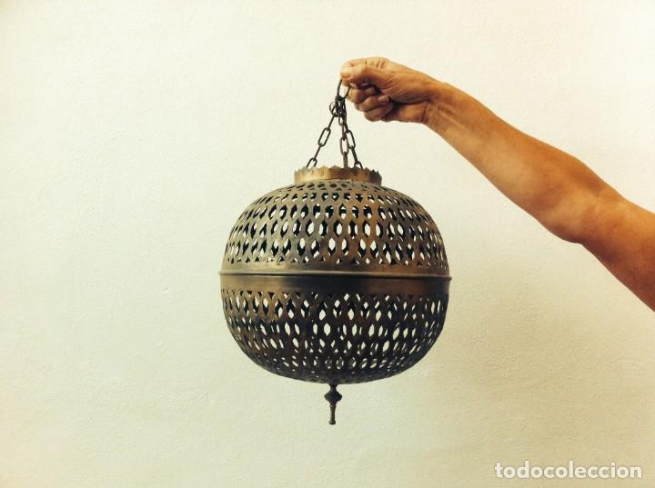 FAROL COLGANTE DE LATÓN (Vintage - Lámparas, Apliques, Candelabros y Faroles)