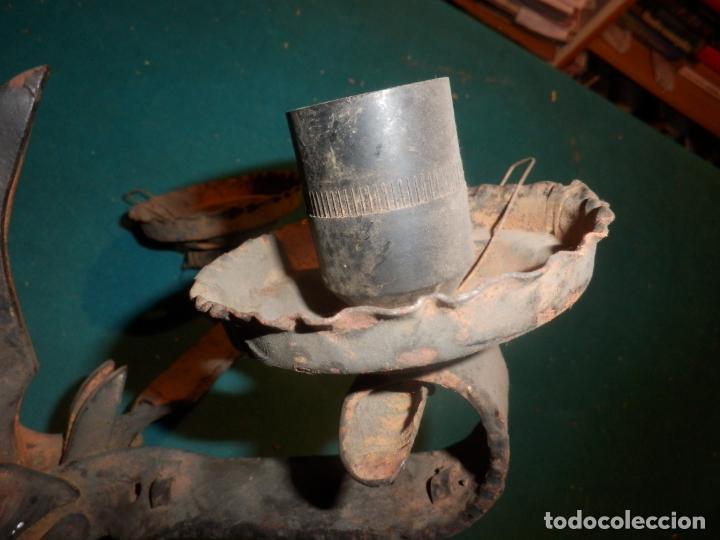 Vintage: LAMPARA TECHO O DOS APLIQUES PARED - HIERRO FORJADO - VER FOTOS Y DETALLES - Foto 5 - 138852494