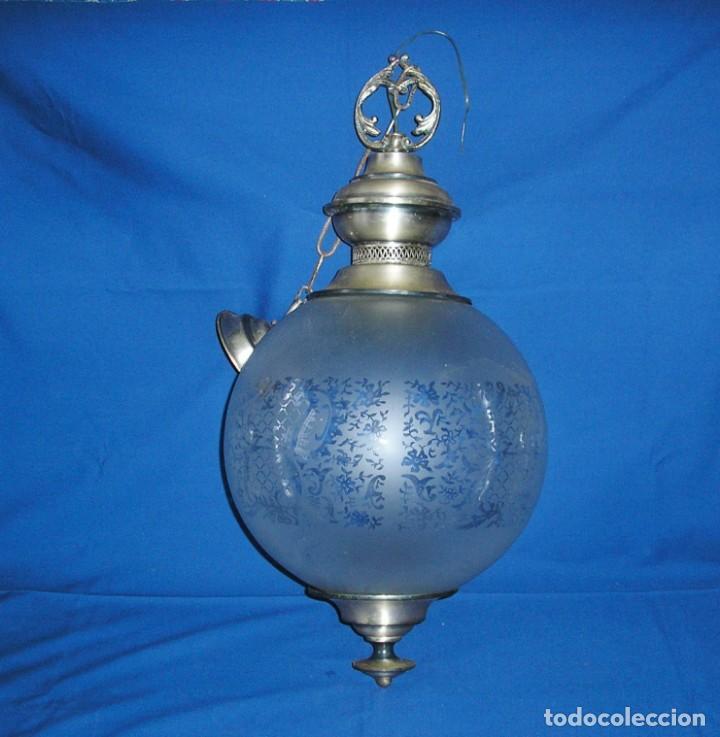 LAMPARA FAROL CON GRAN GLOBO. (Vintage - Lámparas, Apliques, Candelabros y Faroles)