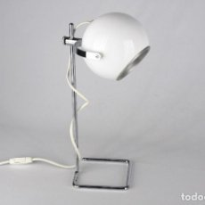 Vintage: LAMPARA EYEBALL VINTAGE BLANCO CROMADO SPACE AGE SOBREMESA RETRO POP 70'S. Lote 165578850