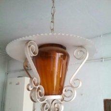 Vintage - LAMPARA VINTAGE DE TERRAZA FAROL HIERRO Lampara vintage de terraza farol - Hierro forja con globo de - 142201134