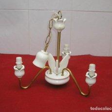 Vintage: LAMPARA DE TECHO - MADERA Y LATON.. Lote 142342574