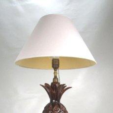 Vintage: ELEGANTISIMA LAMPARA PIÑA MARRON CERAMICA MANISES. Lote 142569954
