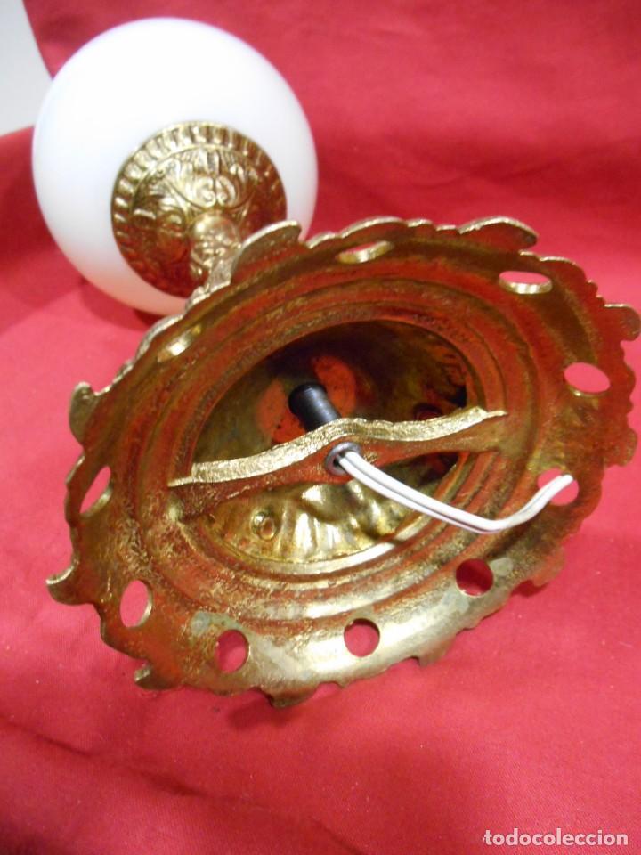 Vintage: LAMPARA APLIQUE DE BRONCE Y GLOBO DE CRISTAL - Foto 4 - 142770438