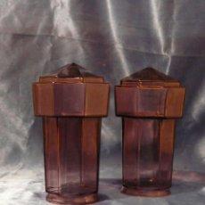 Vintage: TULIPA PIÑA (2 UNIDADES) OCTOGONALES ART DECO EN CRISTAL VIOLETA. Lote 195532200