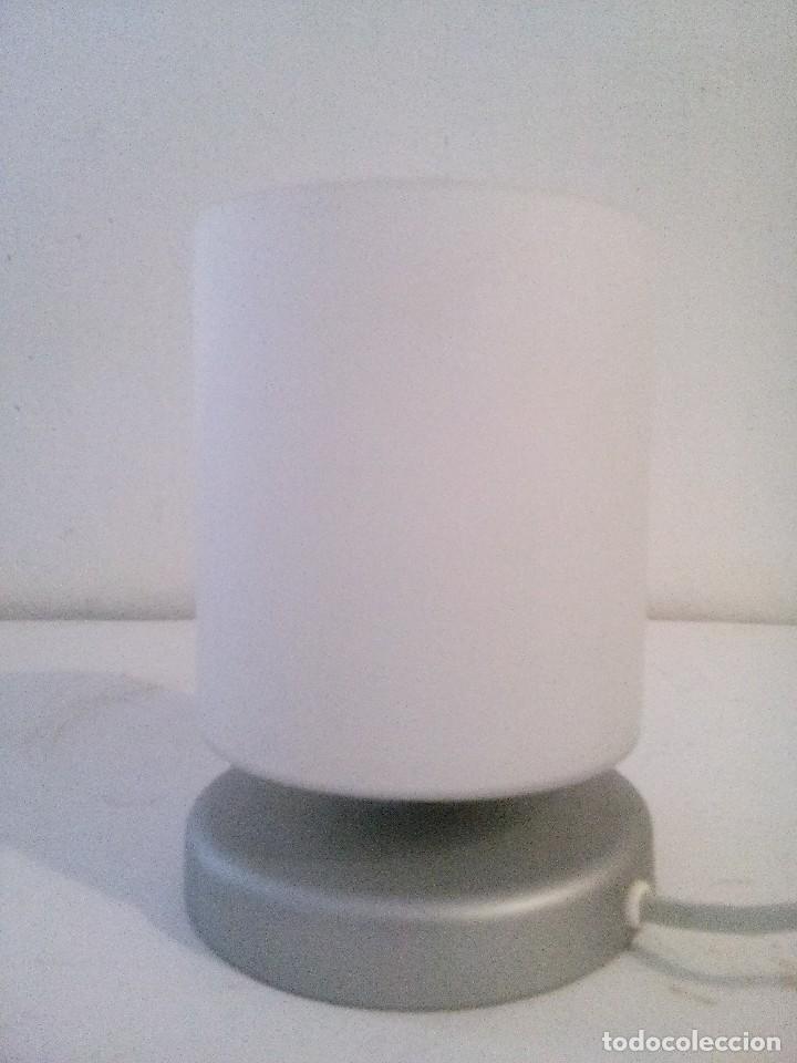 LAMPARA SOBREMESA PANTALLA CRISTAL GLACEADO (Vintage - Lámparas, Apliques, Candelabros y Faroles)