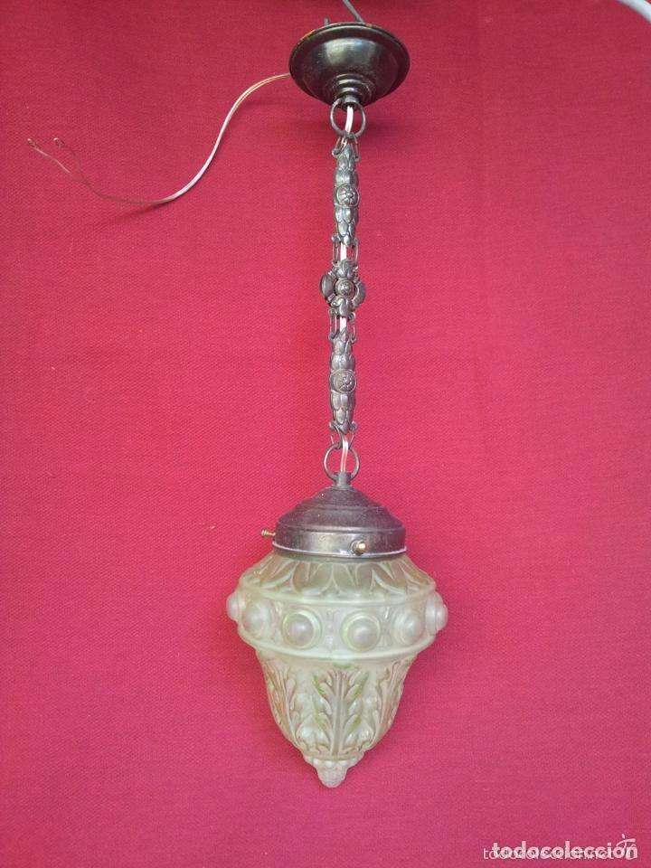 LAMPARA, GLOBO BRONCE Y CRISTAL VERDE.. (Vintage - Lámparas, Apliques, Candelabros y Faroles)
