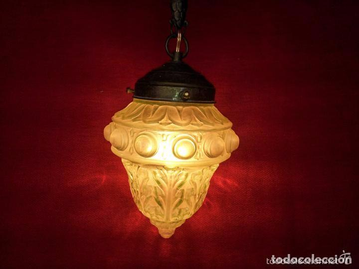 Vintage: LAMPARA, GLOBO BRONCE Y CRISTAL VERDE.. - Foto 3 - 144987750