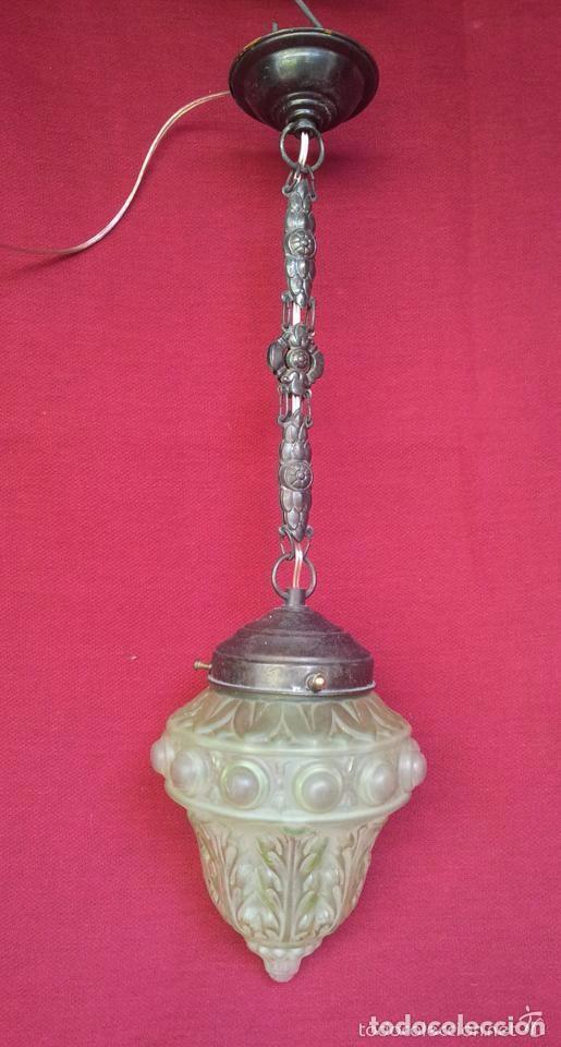 Vintage: LAMPARA, GLOBO BRONCE Y CRISTAL VERDE.. - Foto 4 - 144987750