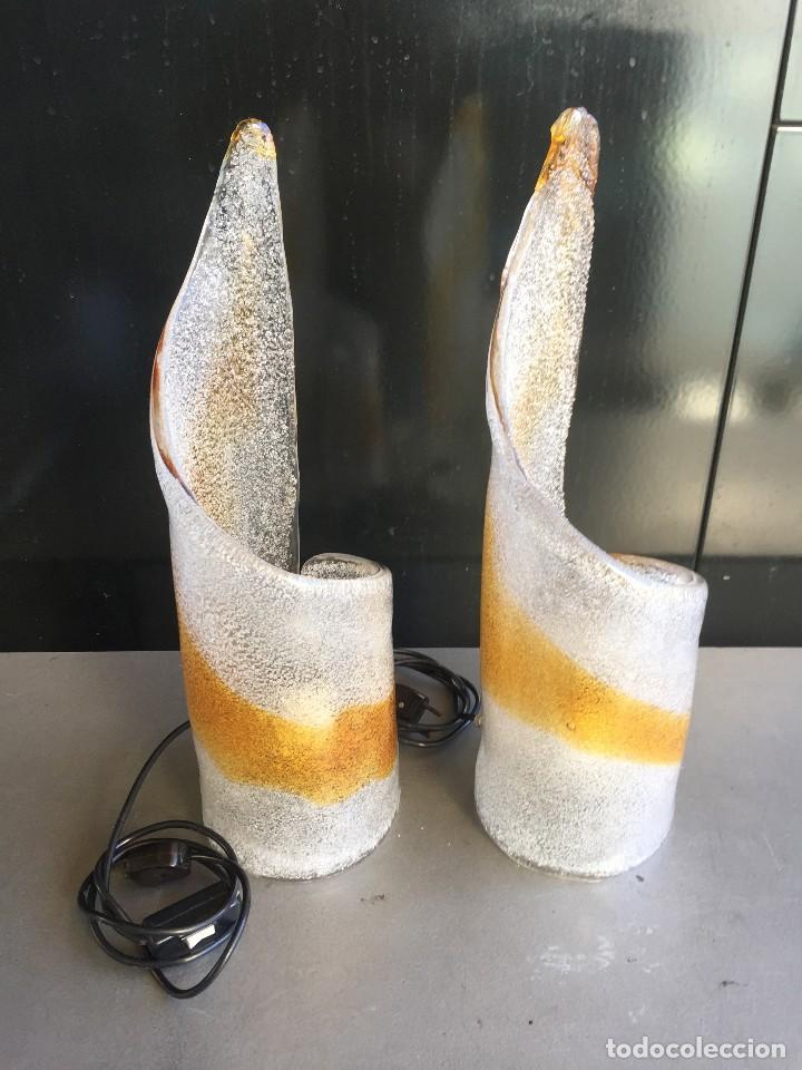 PAREJA DE LAMPARAS DE MESA DE CRISTAL DE MURANO MAZZEGA DE LOS AÑOS 70 (Vintage - Lámparas, Apliques, Candelabros y Faroles)