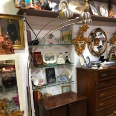 Vintage: FANTASTICA LAMPARA DE DISEÑO CON TRES PUNTOS DE LUZ EN METAL Y BASE DE MARMOL - MEDIDA DE ALTA 2M. Lote 146924394