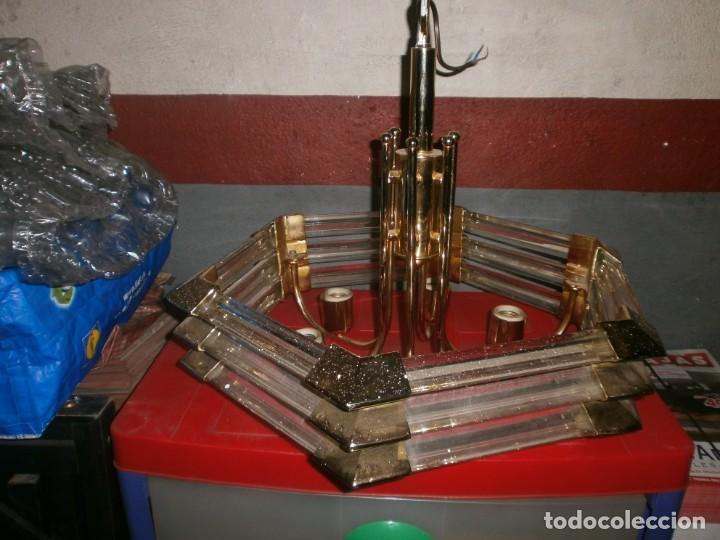 Vintage: Lámpara de techo dorada latón y cristal medida ancho 55 cm. altura 43 cm. 6 luces - buen estado - Foto 2 - 146997474