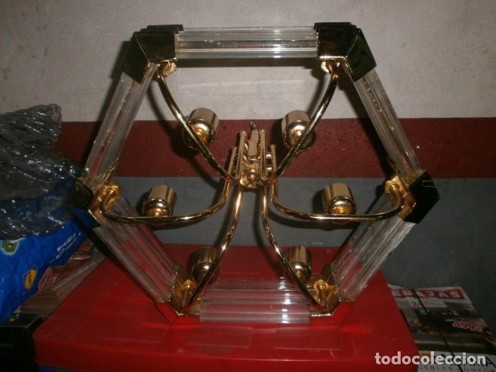 Vintage: Lámpara de techo dorada latón y cristal medida ancho 55 cm. altura 43 cm. 6 luces - buen estado - Foto 4 - 146997474