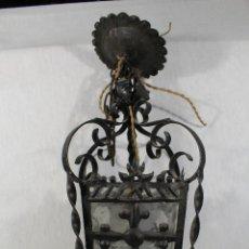 Vintage: LAMPARA DE TECHO FAROL EN HIERRO DE FORJA. Lote 147114426