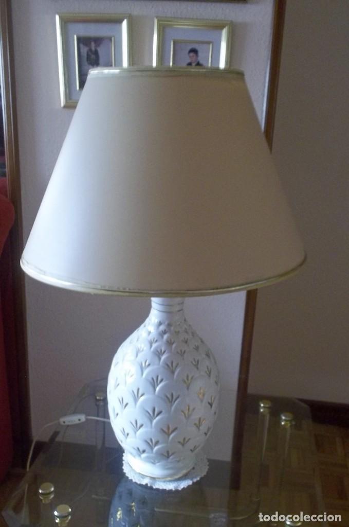 Vintage: LAMPARA SOBREMESA--PIE PORCELANA CON DORADO-PINTADA A MANO-AÑO 80 - Foto 5 - 148704586